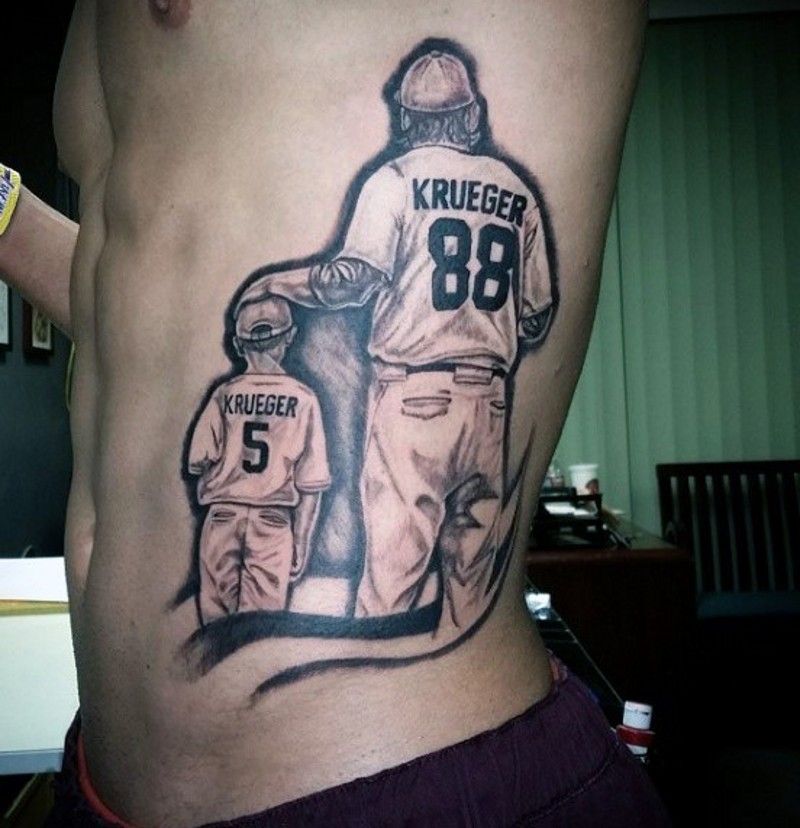 3D realistic base ball playing father and son tattoo on side