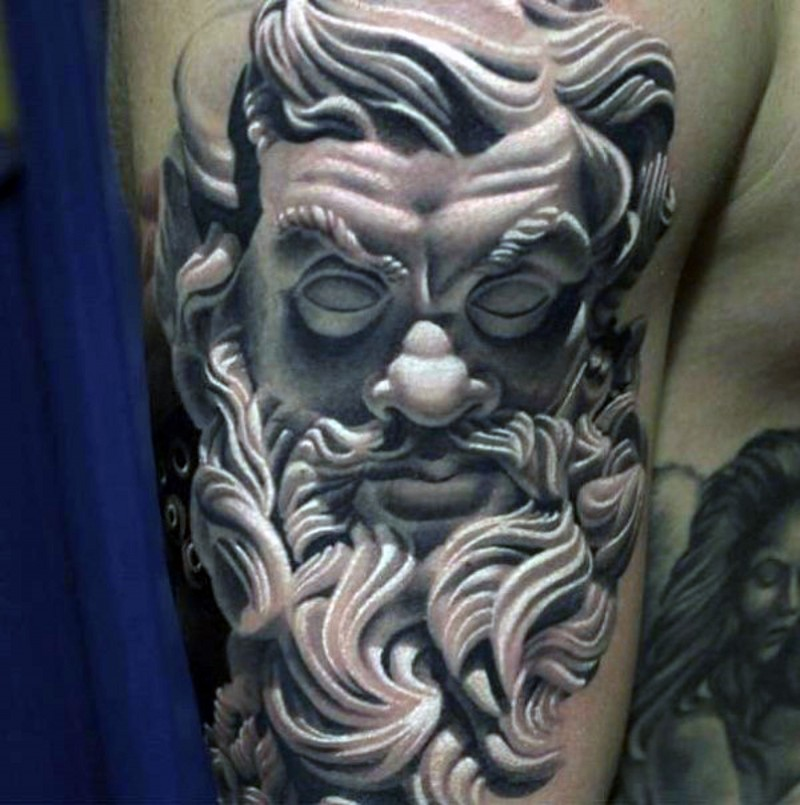 3D realistic big black and white antic statue tattoo on shoulder