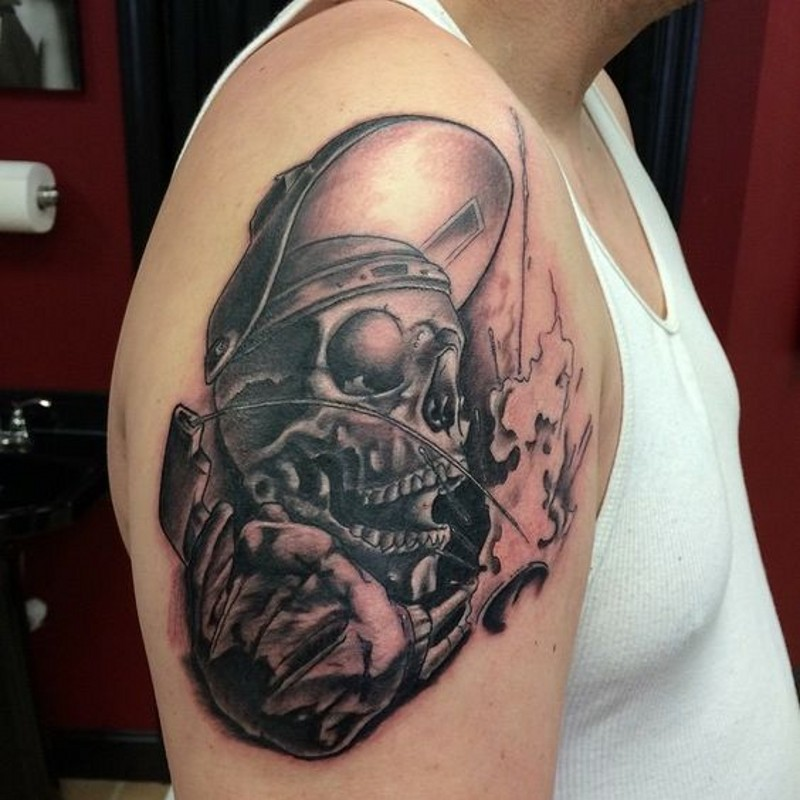 3D realistic big black and white skeleton tattoo on arm top