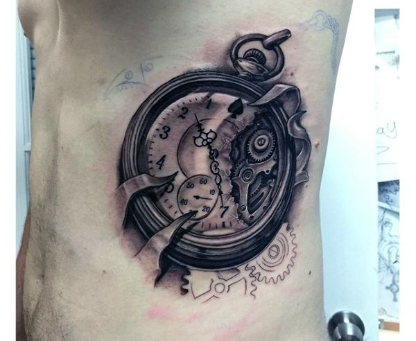 3D realistic big black ink broken pocket clock tattoo on side