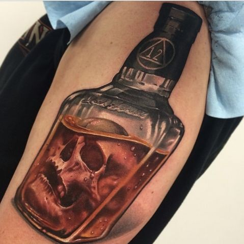 3D realistic big colored bottle with skull shoulder tattoo