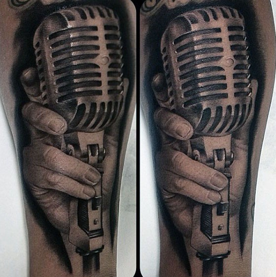 3D realistic black and white hand with old style microphone tattoo