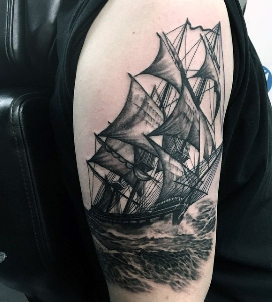 3D realistic black and white old sailing ship tattoo on arm