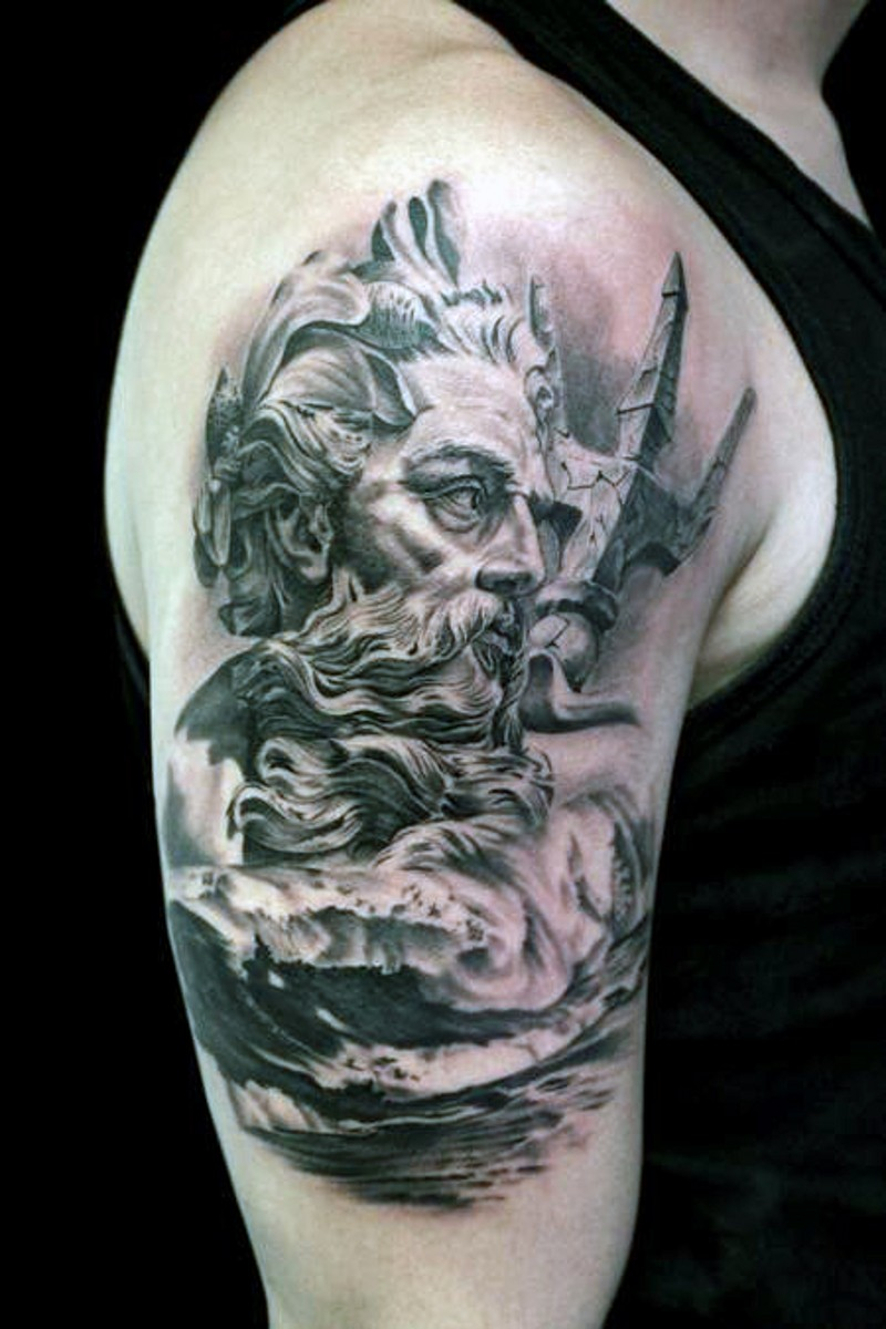 b95fe2201 3D realistic black and white Poseidon statue in waves tattoo on upper arm