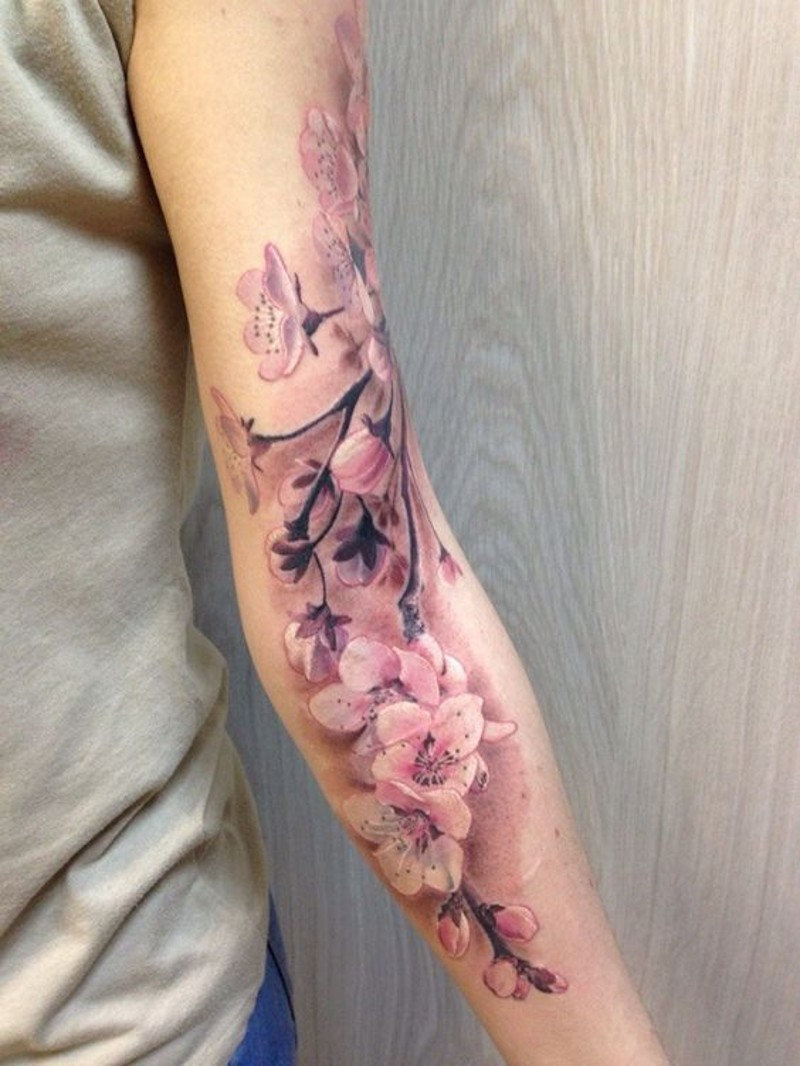 3D realistico colorato ramo di fiori tatuaggio avambraccio