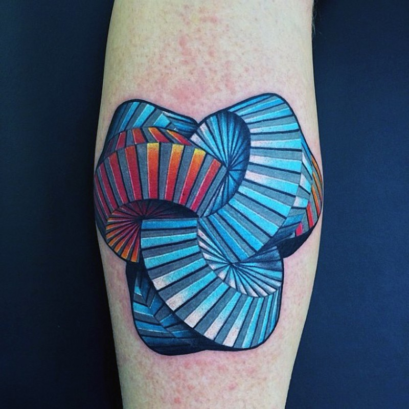 3D realistic colored hypnotic tattoo on leg