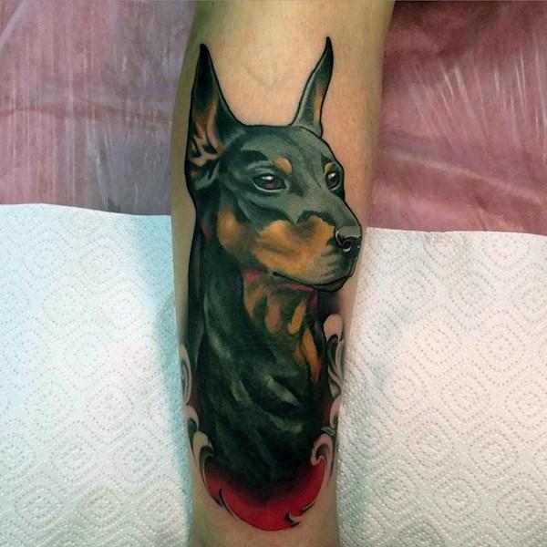 3D realistic colorful dog portrait tattoo on leg