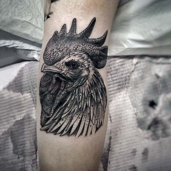 3D realistic detailed black and white peacock&quots head tattoo