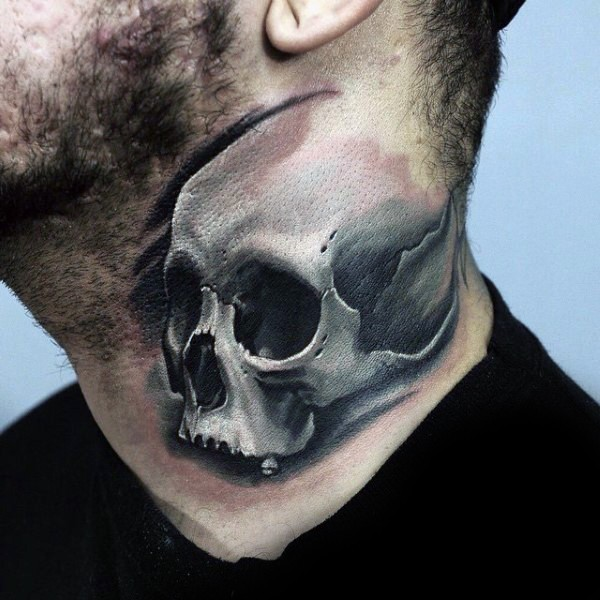 3D realistic detailed human skull tattoo on neck