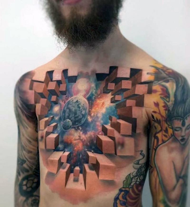 3D realistic geometrical space tattoo on chest