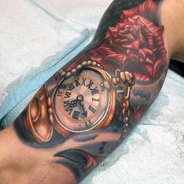 Tatuaje En El Brazo Reloj De Bolsillo Maravilloso Con Flor