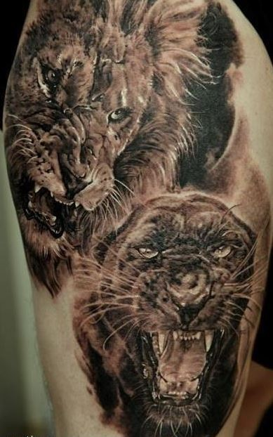 3d realistic lion and black panther tattoo - Tattooimages.biz