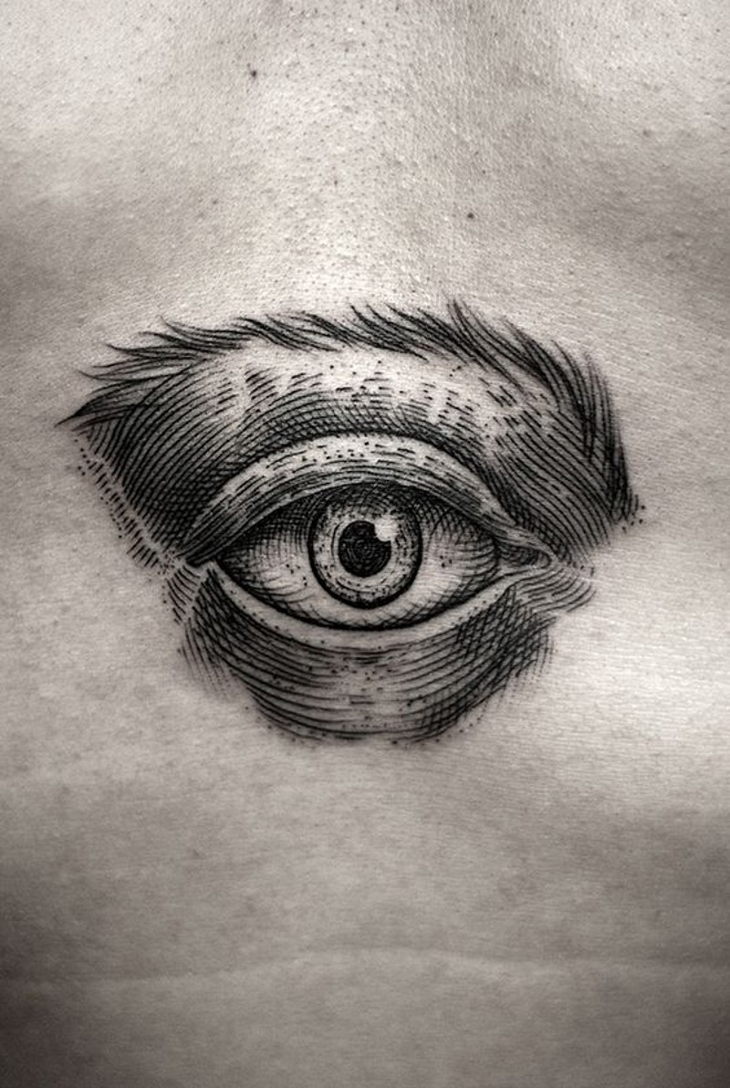 3D realistico piccolo inchiostro nero mistico occhio tatuaggio su pancia