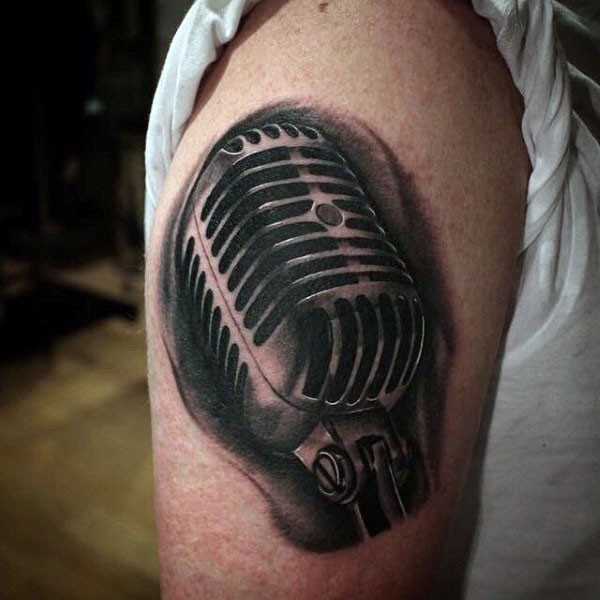 3D realistic looking black and white microphone tattoo