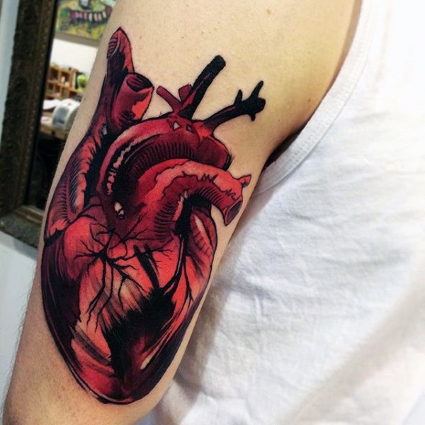 3D realistic looking detailed colored heart tattoo on shoulder
