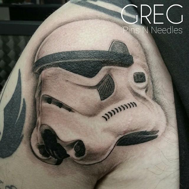 3D realistic looking shoulder tattoo of Storm troopers helmet