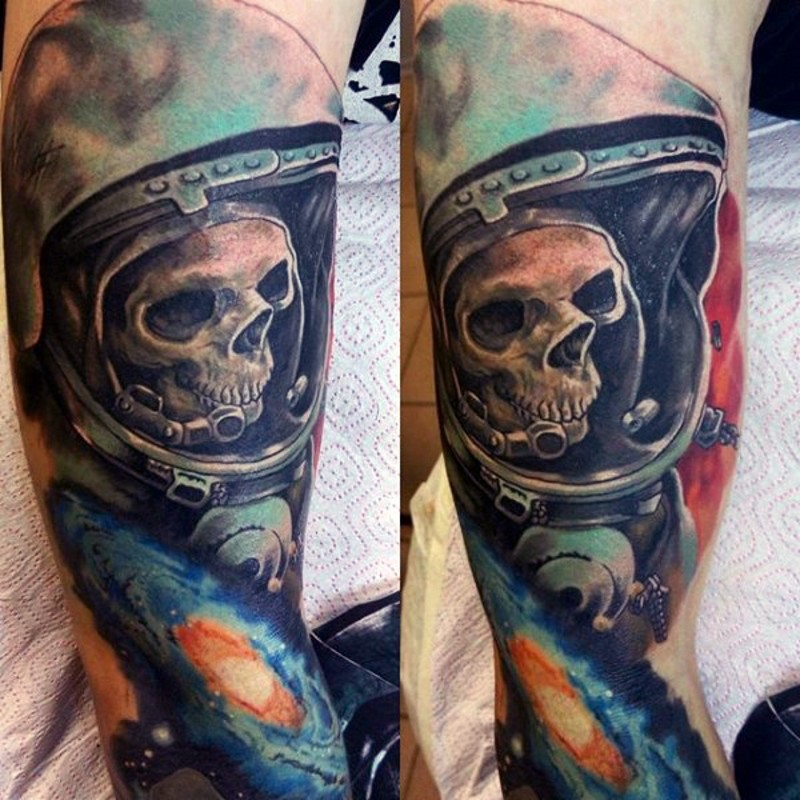 3D realistic looking very detailed astronaut suit with skeleton and galaxy tattoo on arm