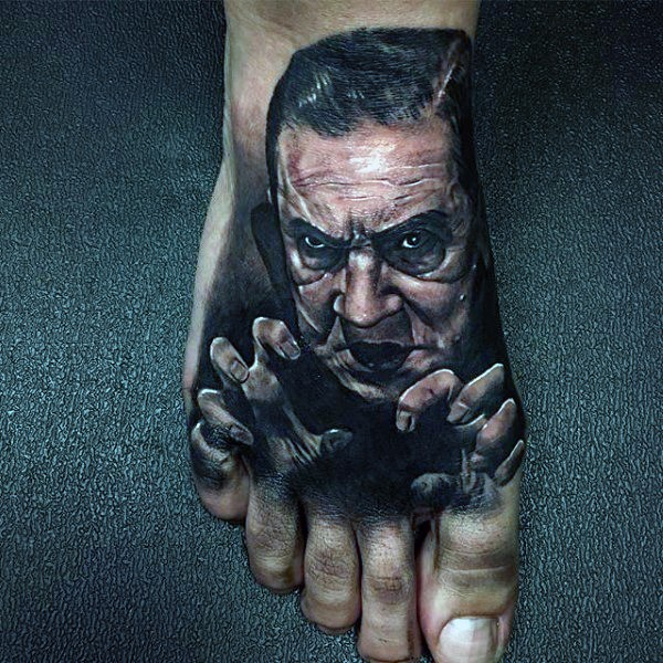 3D realistic old horror movies monster portrait tattoo on foot