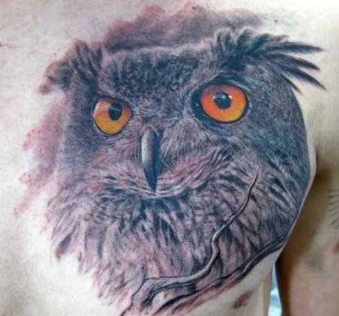3d realistic owl tattoo on chest