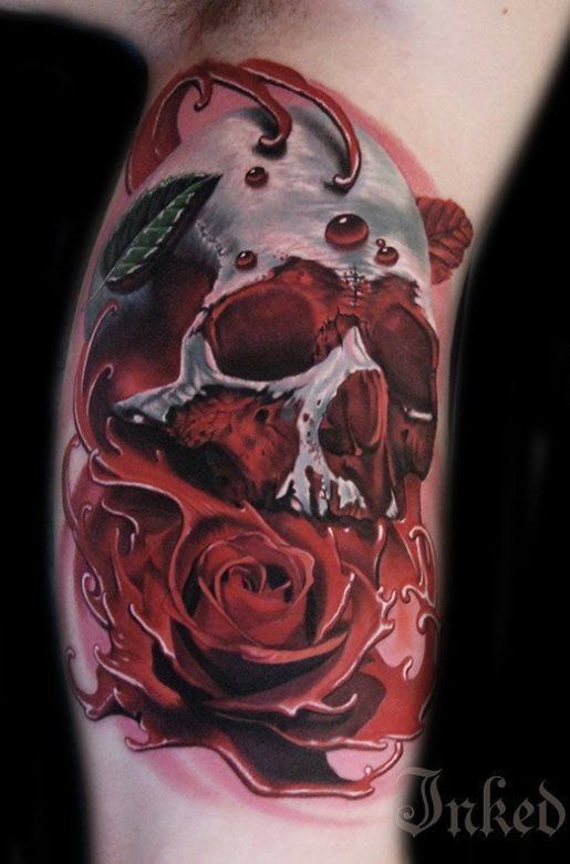 3D realistic painted big colored bloody skull with rose tattoo on arm