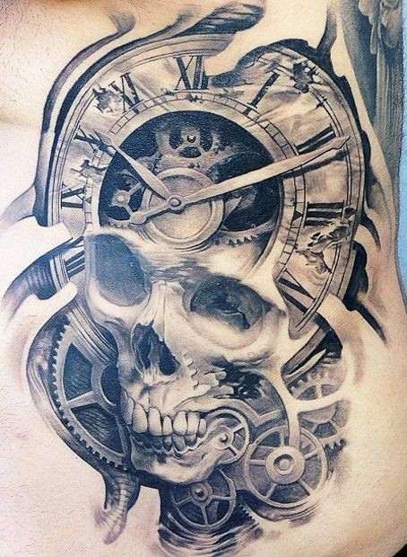 3D realistic painted big skull with antic clock tattoo on waist