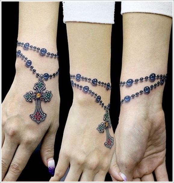 3d realistic rosary wrist tattoo