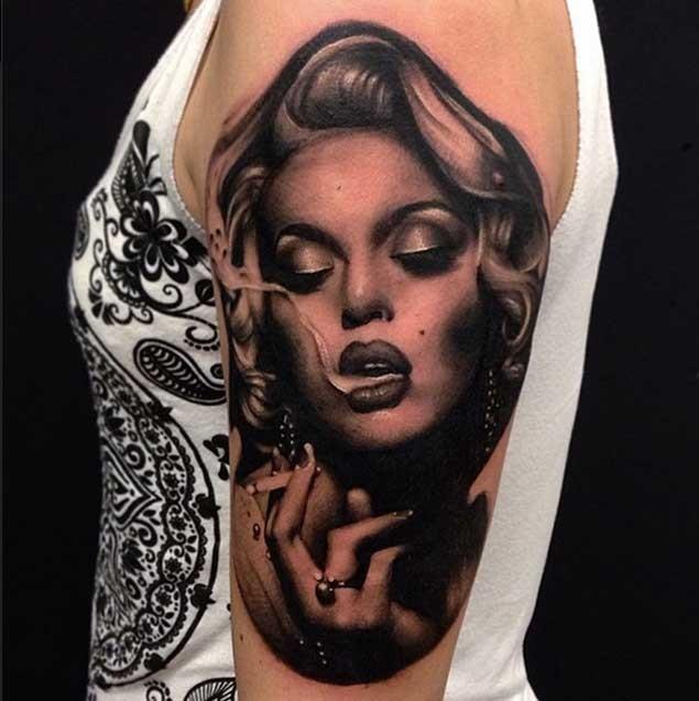 3D realistic smoking lady celebrity charming incredible shoulder tattoo photo lifelike
