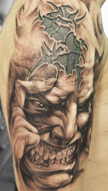 3D realistic very detailed colored evil monster with mystical symbol tattoo on shoulder
