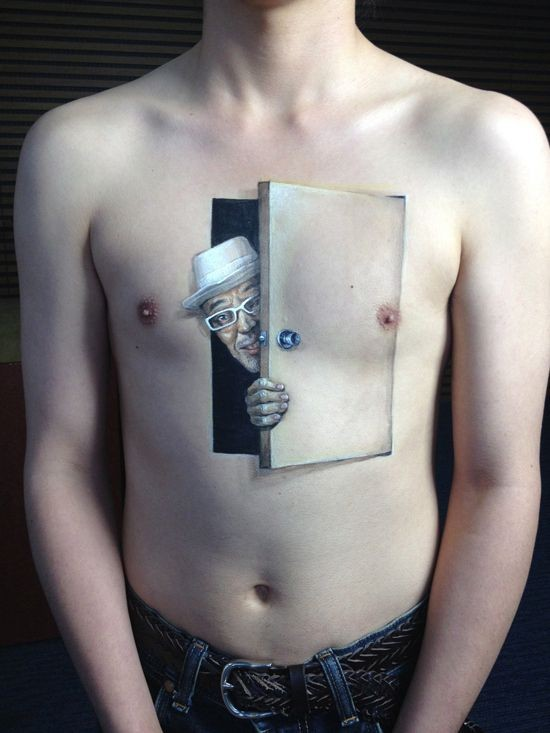 3D realistic very detailed funny man behind the door tattoo on chest