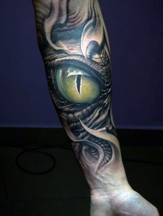3D realistic very detailed green alligator tattoo on arm
