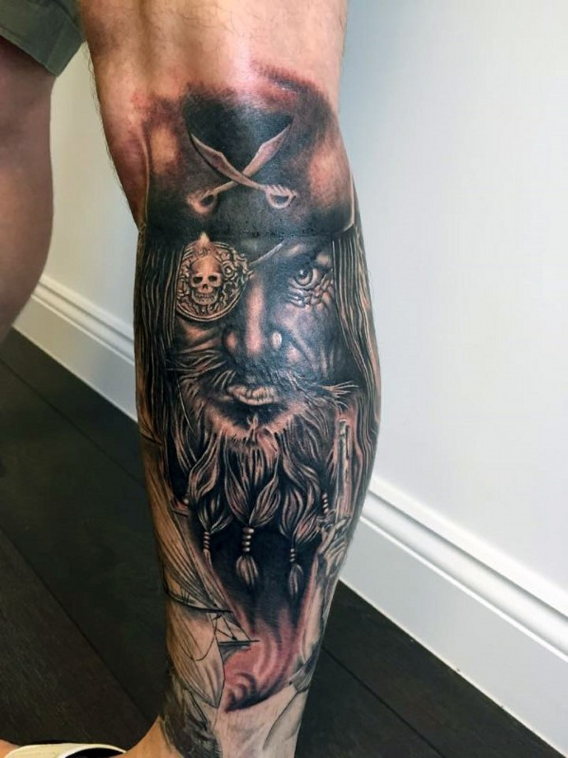 3D realistic very detailed old pirate portrait tattoo on leg