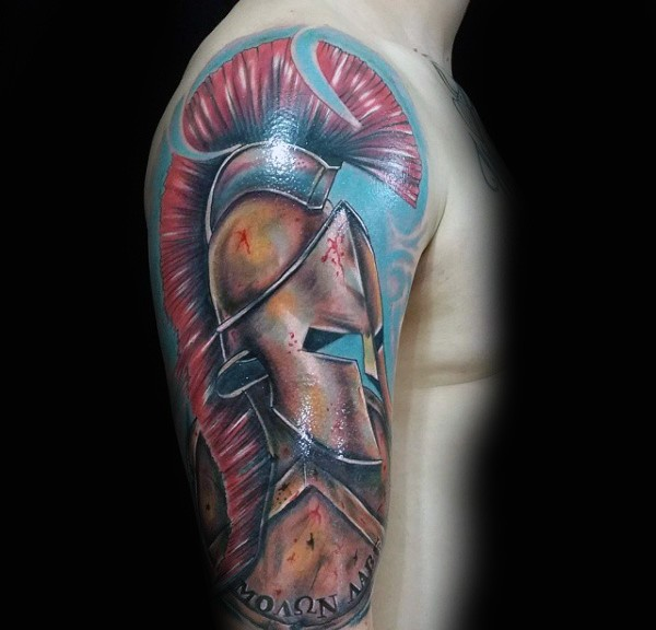 3D realistic very detailed Roman warrior armor tattoo on shoulder with lettering