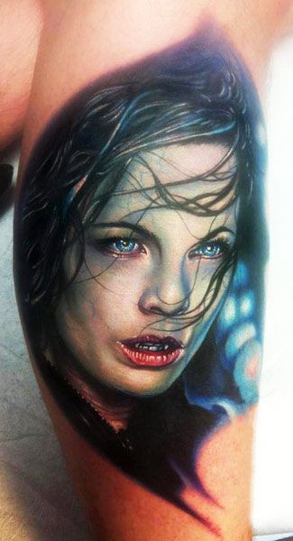 3D realistic very detailed vampire movie female hero tattoo on leg