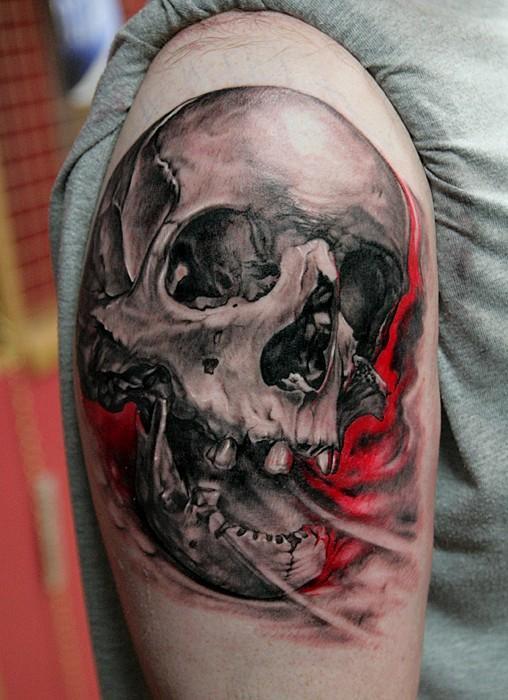 3d skull tattoo by Thomas Kynst