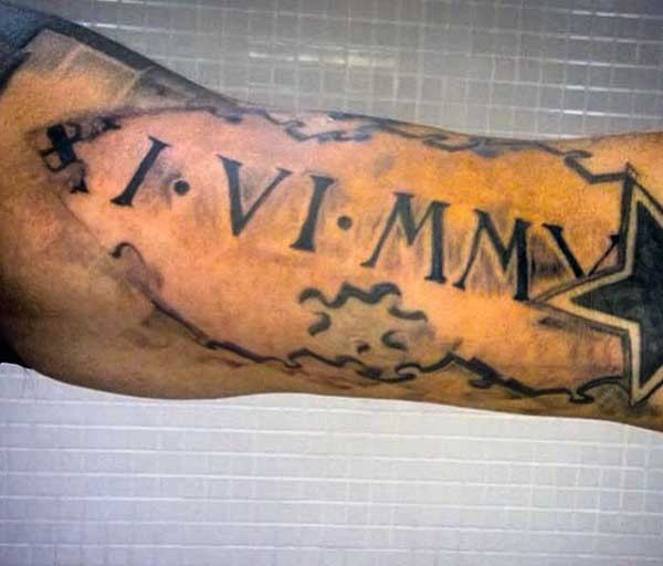 3D spectacular looking black and white biceps tattoo of memorial date and star