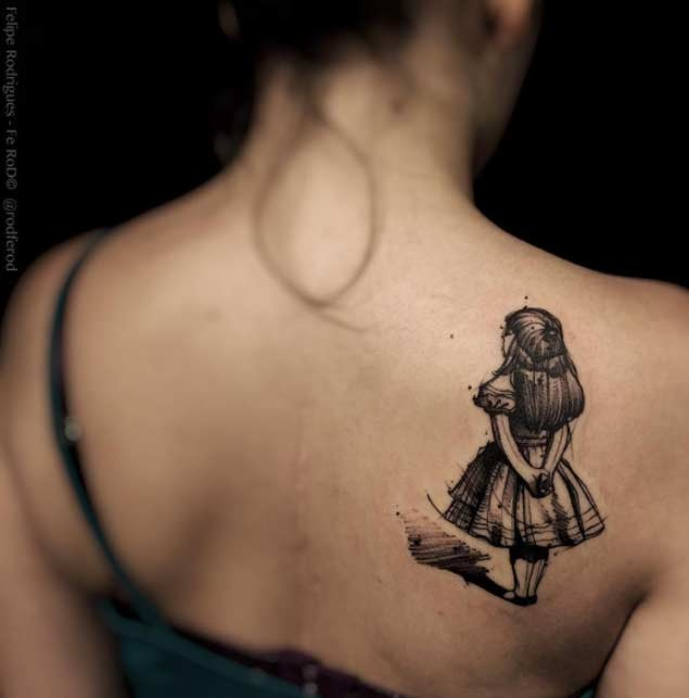 3D style accurate painted black ink girl tattoo on upper back
