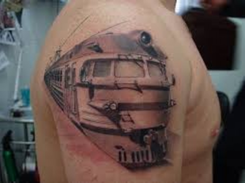 3D style accurate painted upper arm tattoo of old USSR train