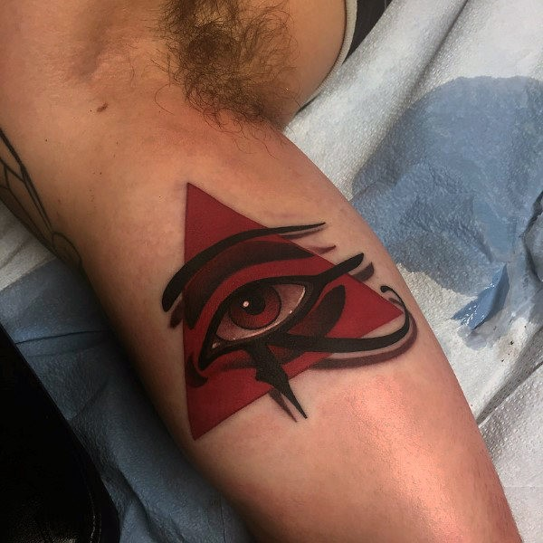 3D style amazing looking biceps tattoo of old Egypt symbol
