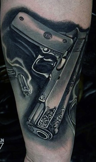 3D style amazing looking black and white forearm tattoo of realistic pistol with bullets