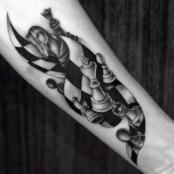 3D style amazing looking forearm tattoo of chess figures
