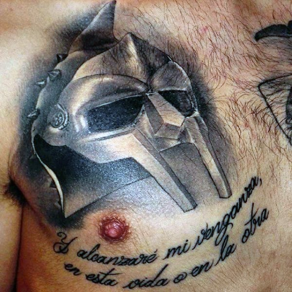 3D style amazing looking gladiators helmet tattoo on chest with lettering