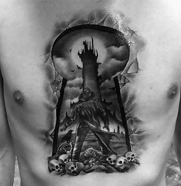 3D-Stil awesome schwarze Tinte Brust Tattoo von Schlüsselloch mit Mann und Schädel