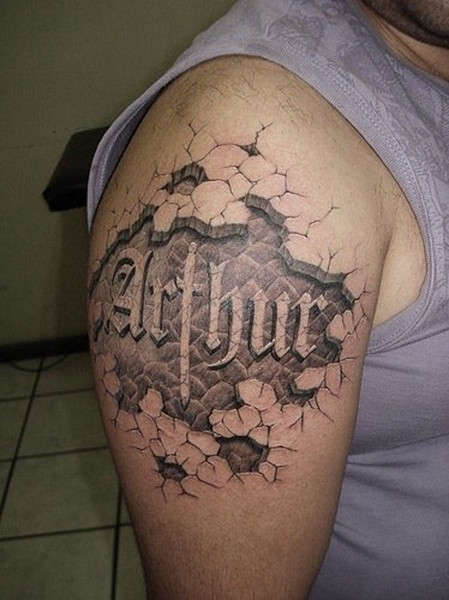 3D style awesome colored corrupted skin tattoo on shoulder with lettering