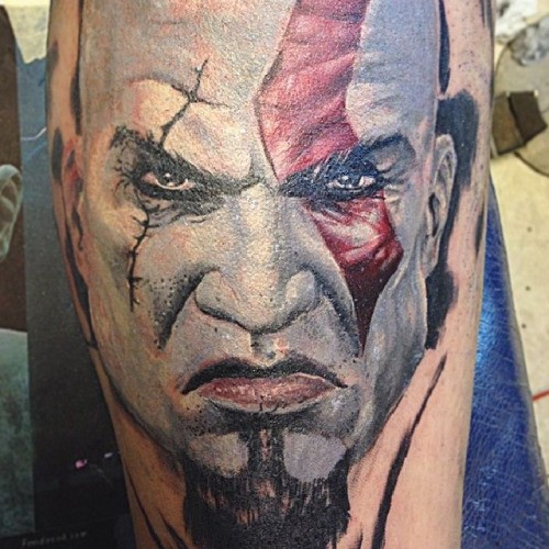 3D style awesome colored evil barbarian tattoo on leg