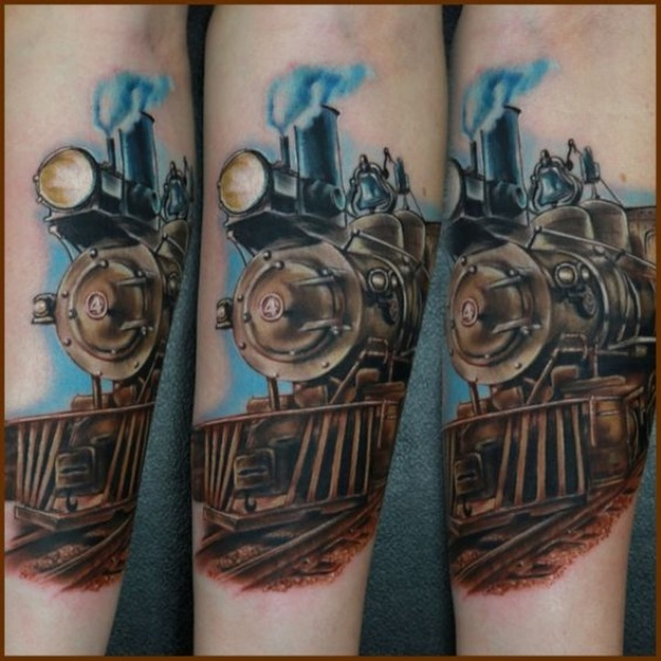 3D style beautiful forearm tattoo of steam train