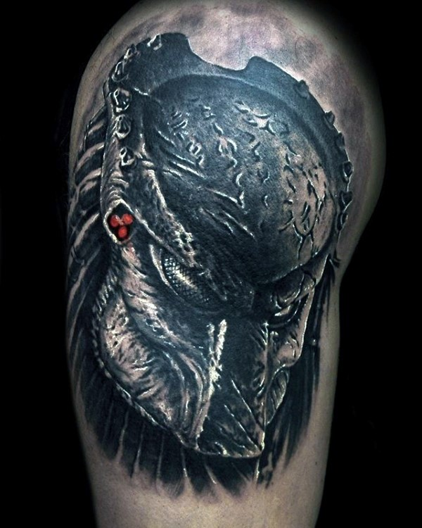 3D style beautiful looking shoulder tattoo of evil Predator