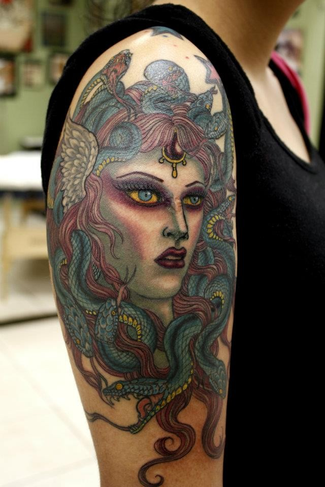 3D style big colorful shoulder tattoo of Medusa with snakes