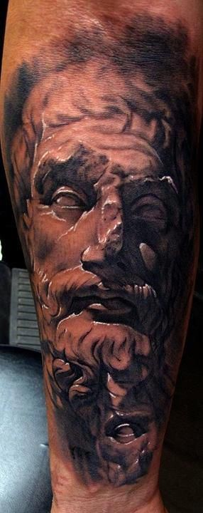 3D style big realistic looking ancient statues on forearm tattoo
