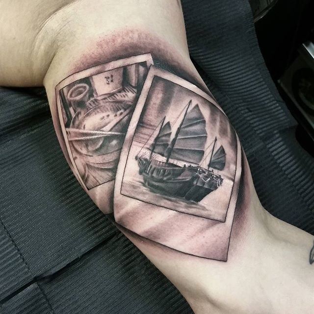 3D style black and gray colored vintage pictures tattoo on biceps