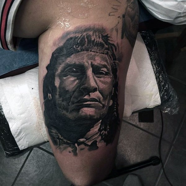 3D style black and white sharp Indian portrait tattoo on upper arm
